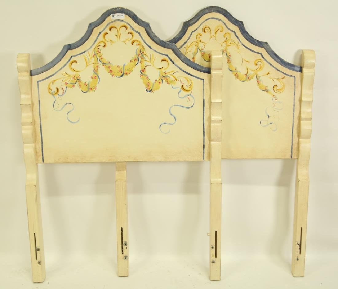 PAIR OF PAINTED TWIN SIZE HEADBOARDS