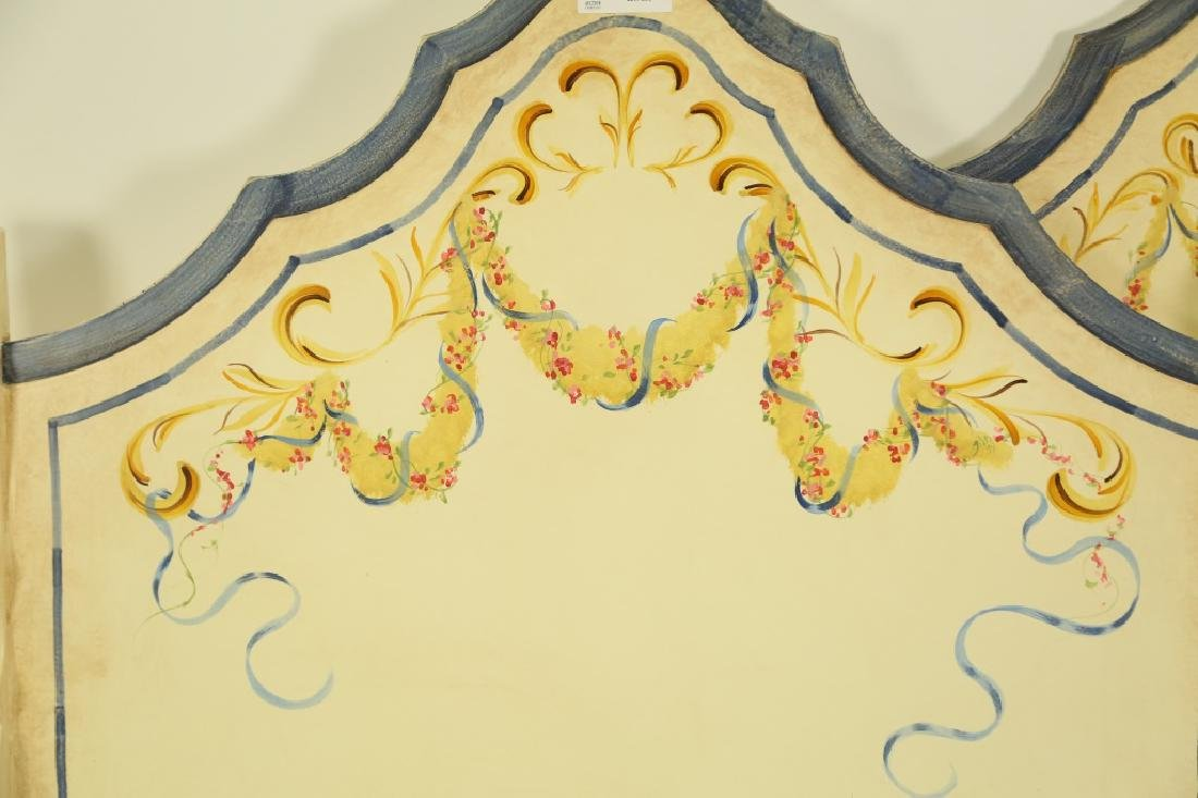 PAIR OF PAINTED TWIN SIZE HEADBOARDS - 2