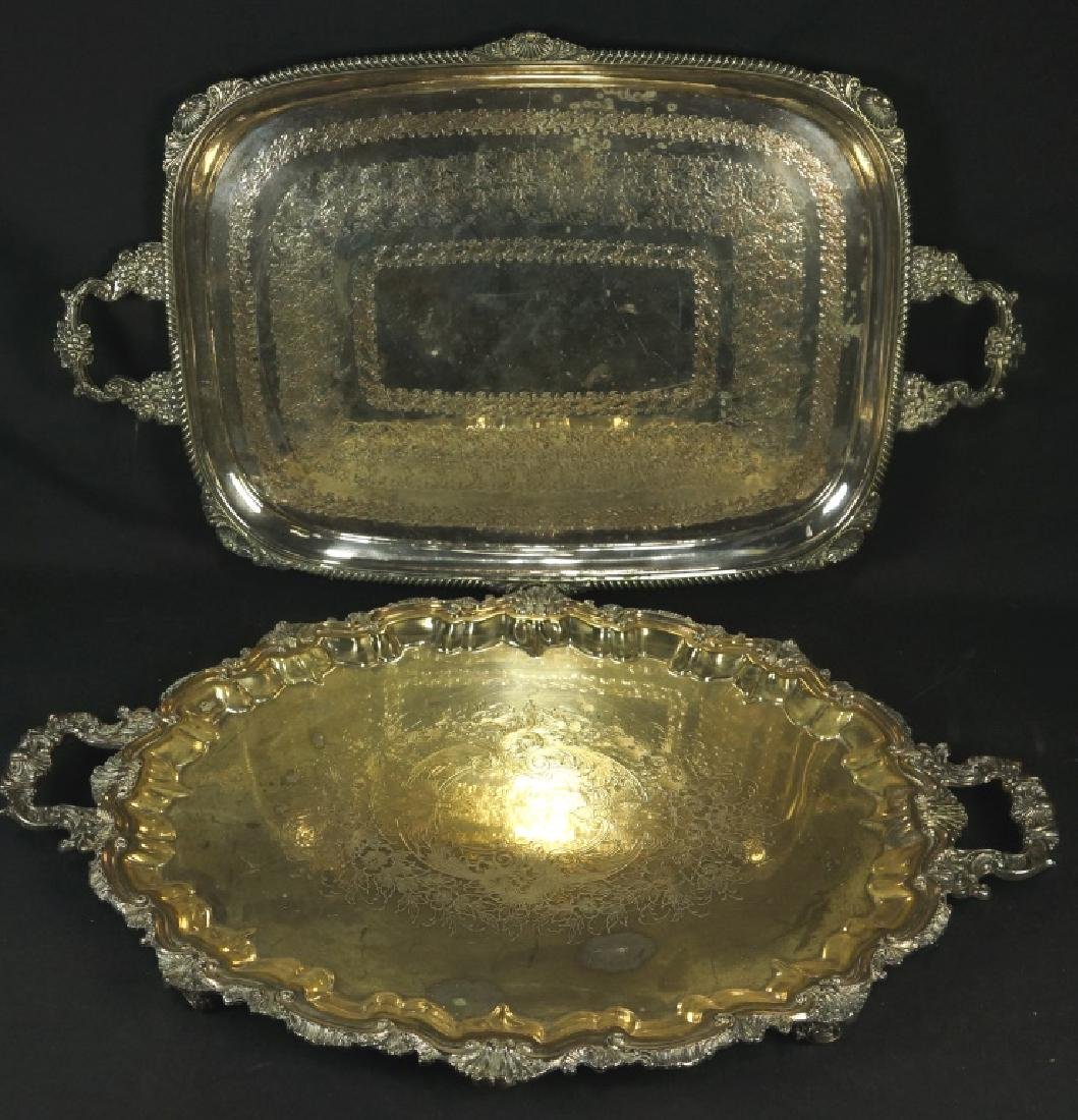 LOT OF TWO SILVER PLATED SERVING TRAYS