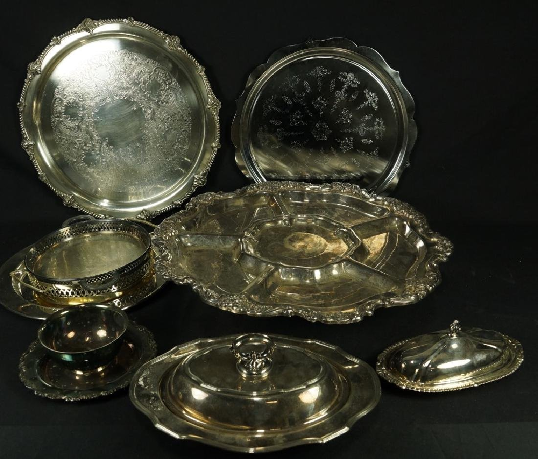 NINE PIECE MIXED SILVER PLATED LOT