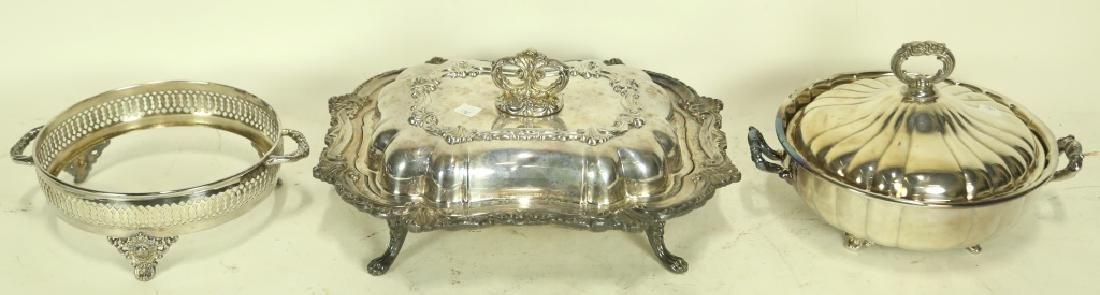 LOT OF THREE SILVER  PLATED SERVING PIECES