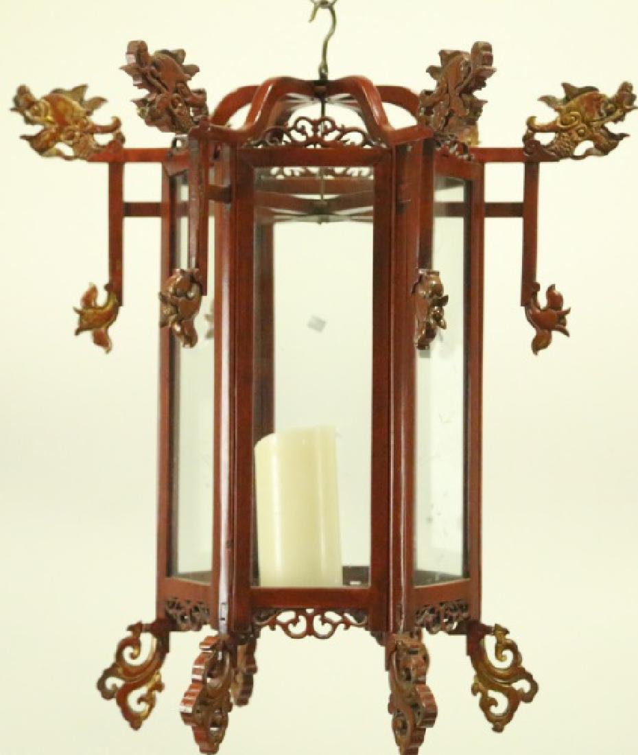 CHINESE WOODEN HANGING LANTERN WITH GLASS & CANDLE