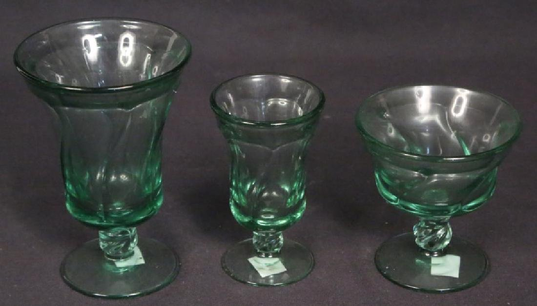 LOT OF 45 GREEN GLASSWARE PIECES