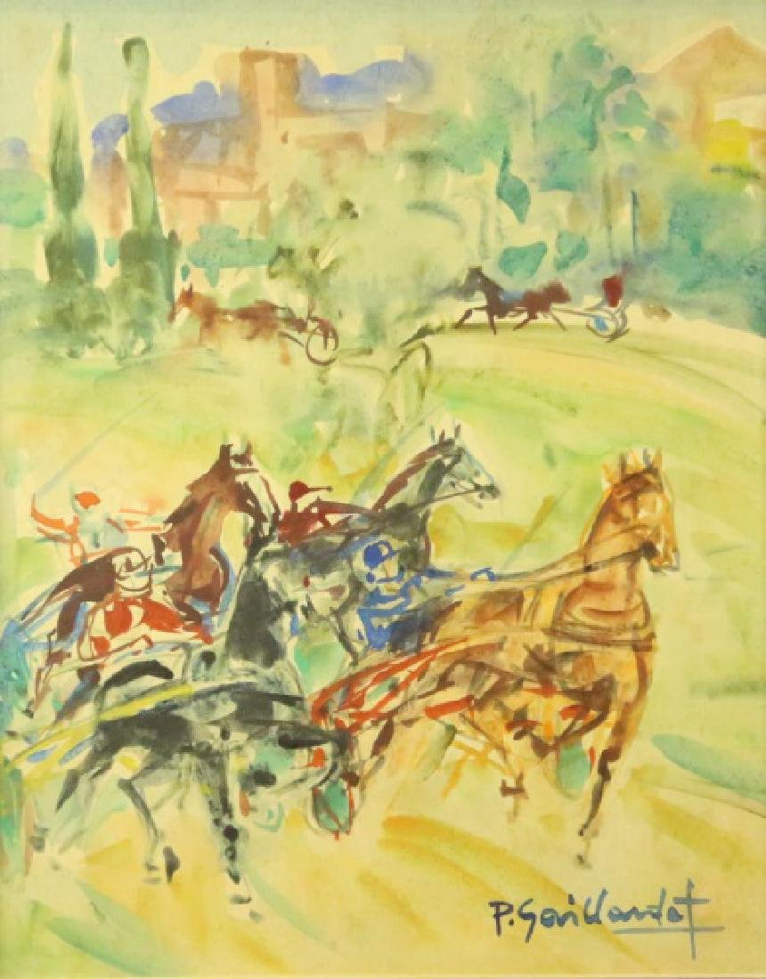 PIERRE GAILLARDOT HORSE RACE WATERCOLOR