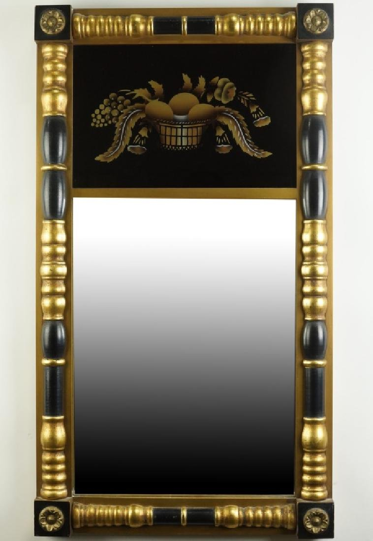 FEDERAL STYLE GILT BLACK LACQUERED MIRROR