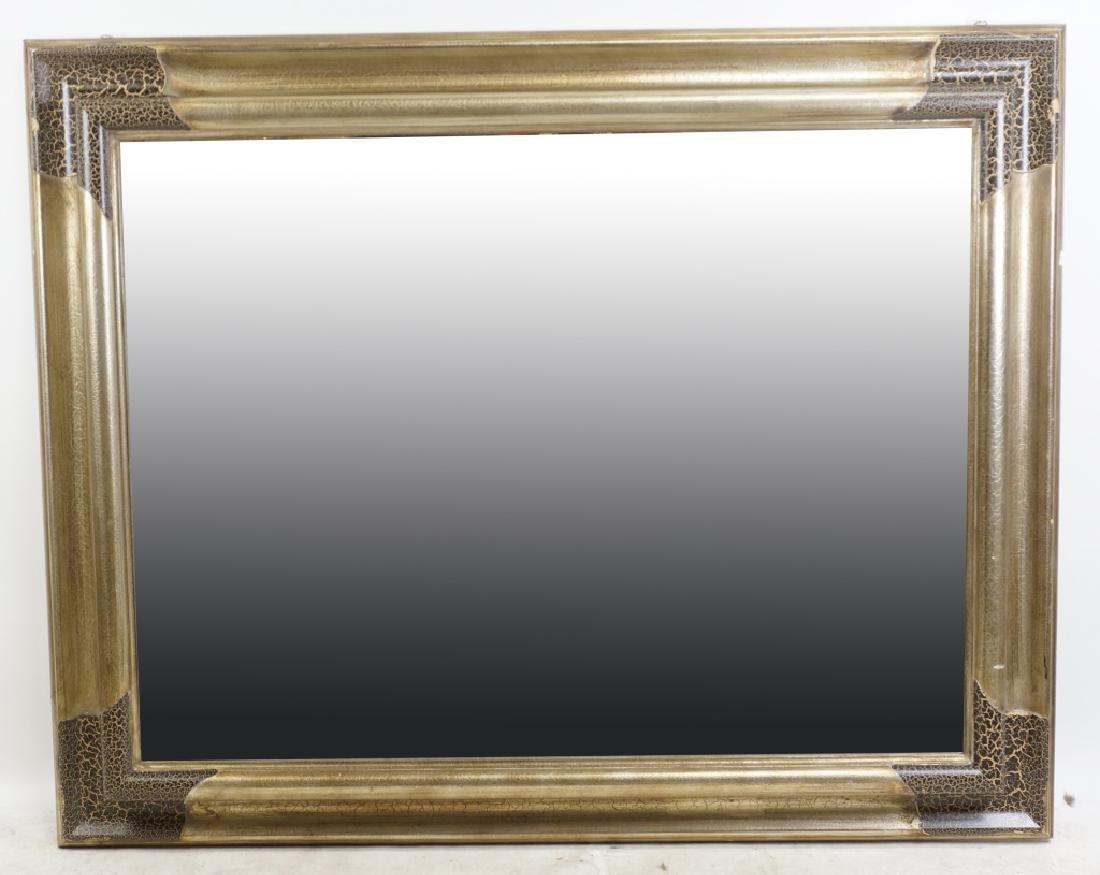 CRACKLE FINISH FRAMED BEVELED GLASS MIRROR