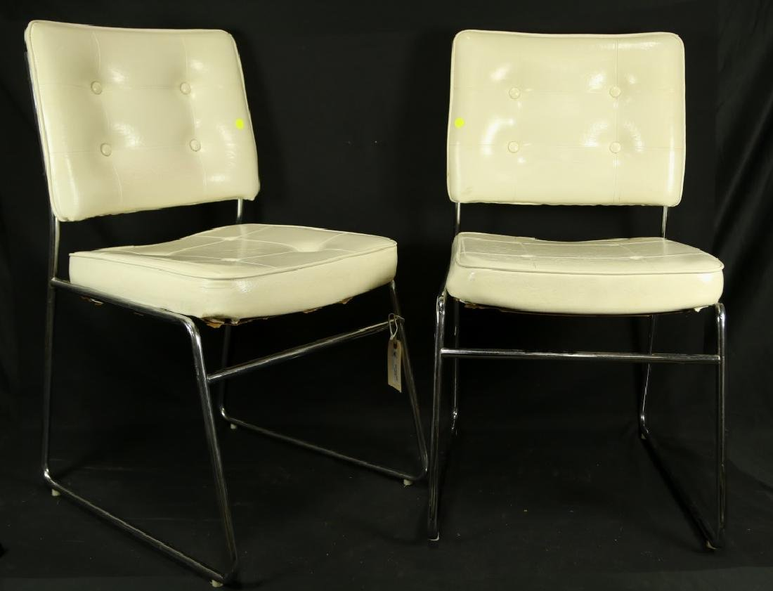 PAIR OF WHITE MODERN LEATHER CHAIRS