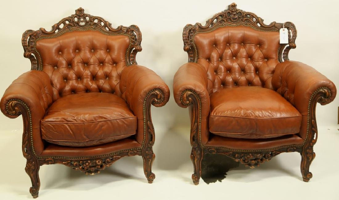PAIR OF BUTTON TUFTED CARVED ROCOCO STYLE CHAIRS