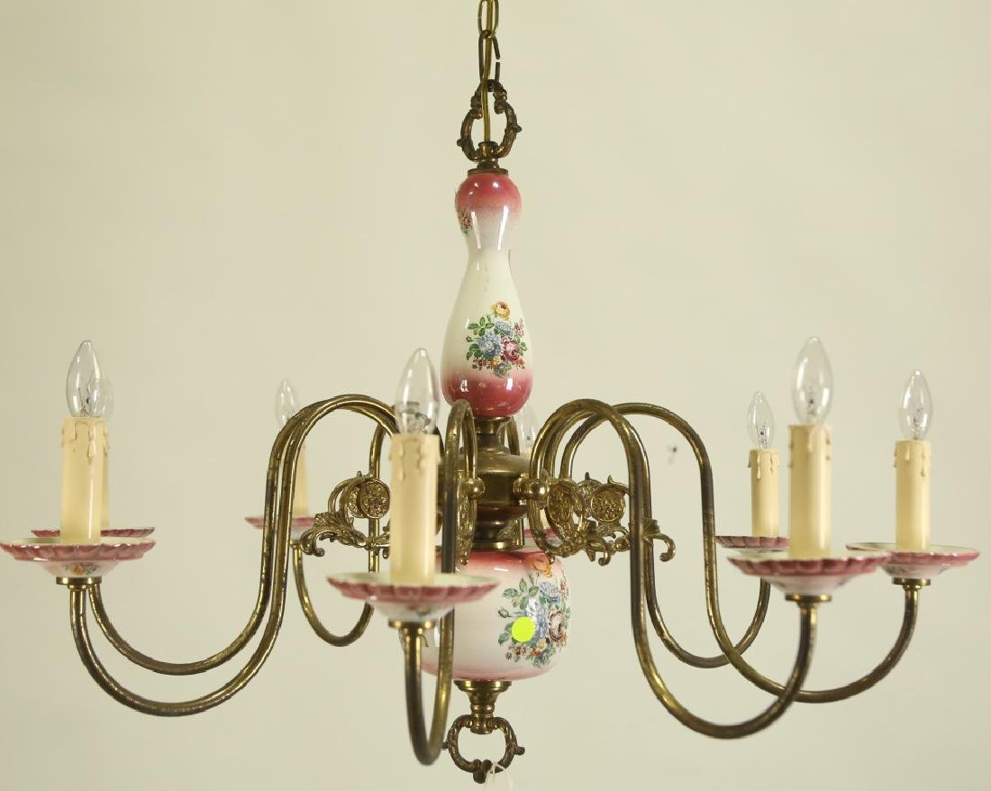 PAINTED PORCELAIN & BRASS CHANDELIER