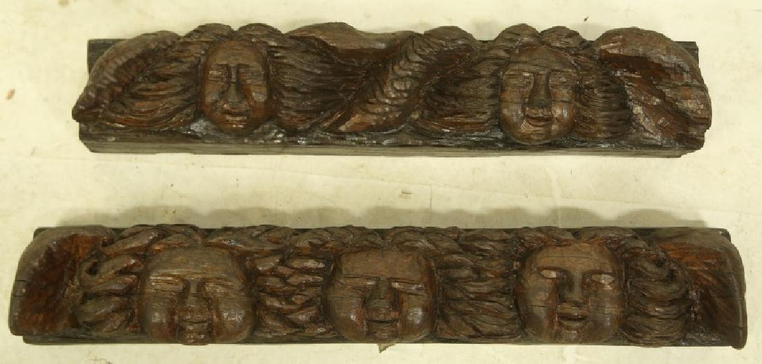 PAIR OF 19th C. SPANISH CARVED ANGEL WALL ELEMENTS
