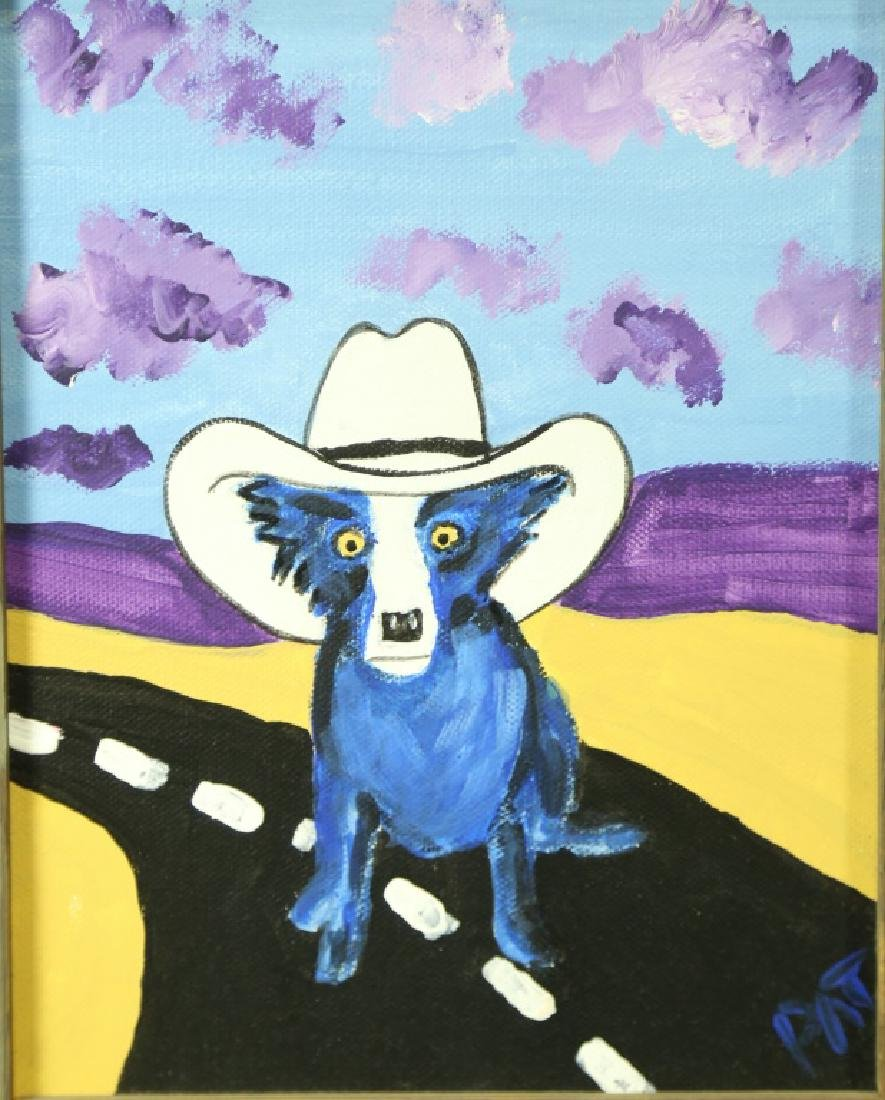 "PAT ""TRIBUTE TO BLUE DOG"" ACRYLIC ON CANVAS"