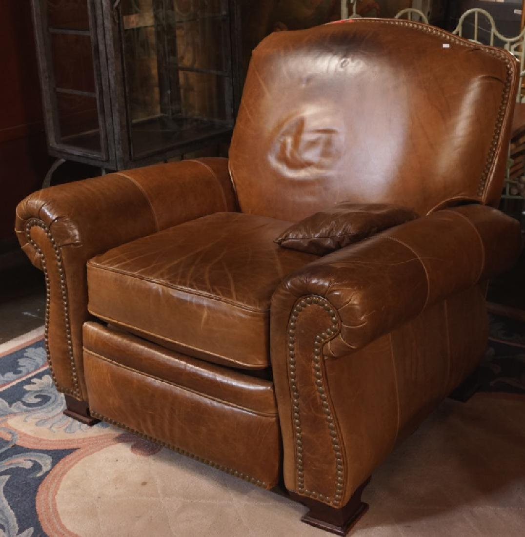 1940's STYLE CUSTOM DESIGN BROWN LEATHER RECLINER