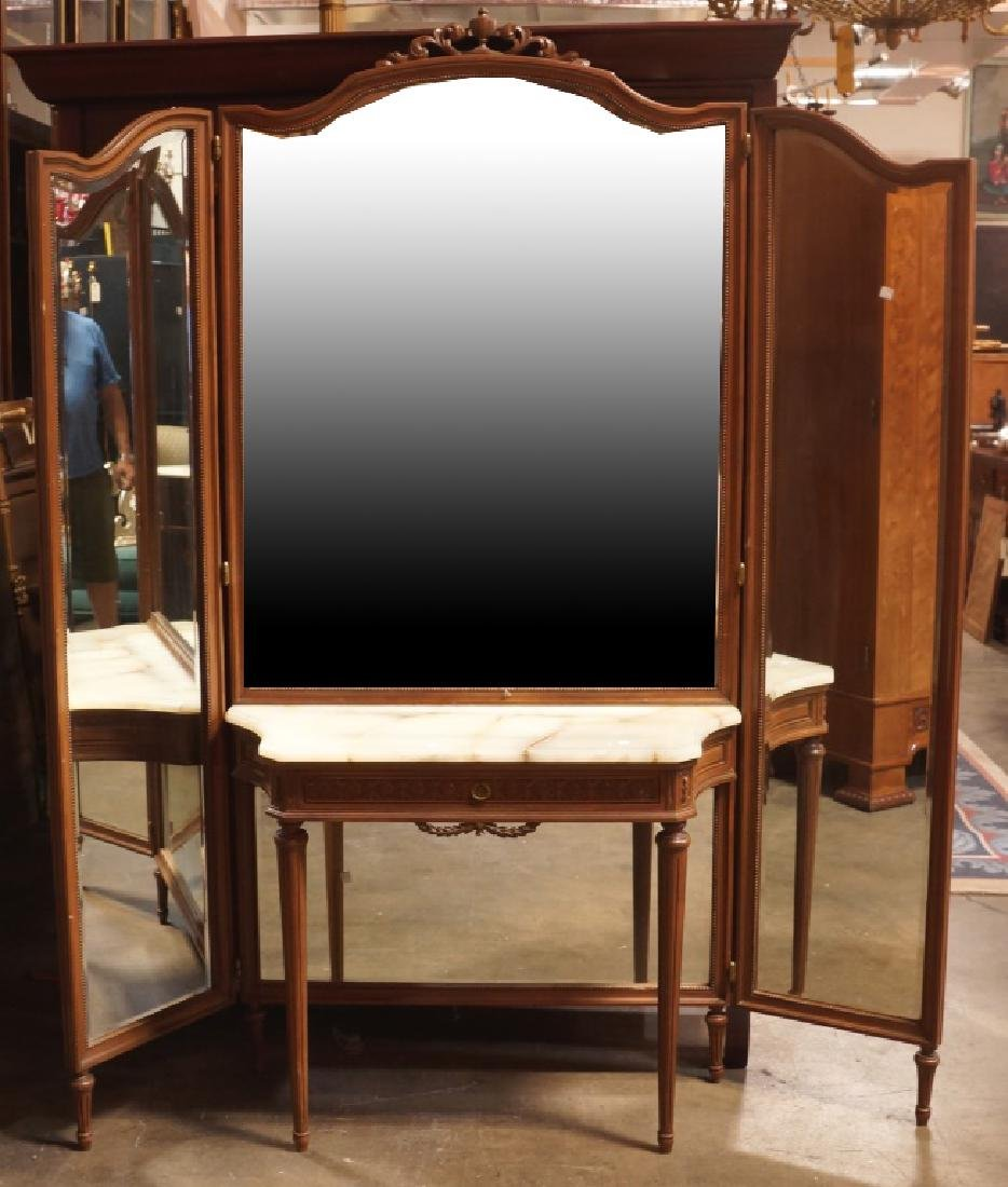 ANTIQUE MARBLE TOP VANITY WITH DRESSING MIRROR
