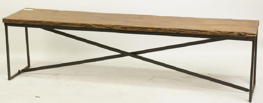 WOOD AND IRON BASE BENCH