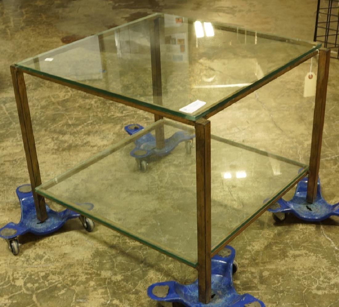 MID-CENTURY MODERN  GLASS TOP METAL BASE END TABLE