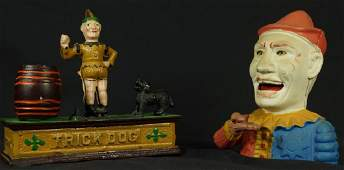 LOT OF TWO VINTAGE CAST IRON TOY COIN BANKS