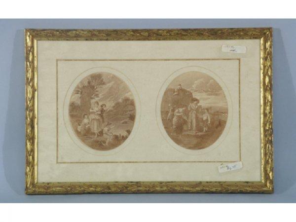 Mezzotint engraving of outdoor family scenes