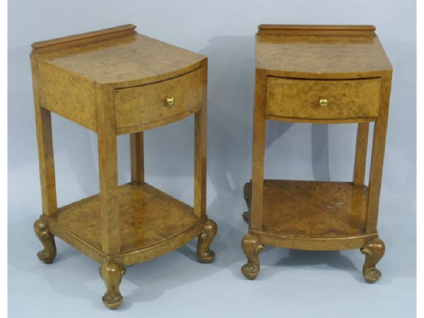Pair of Burl Walnut nightstands with drawer.