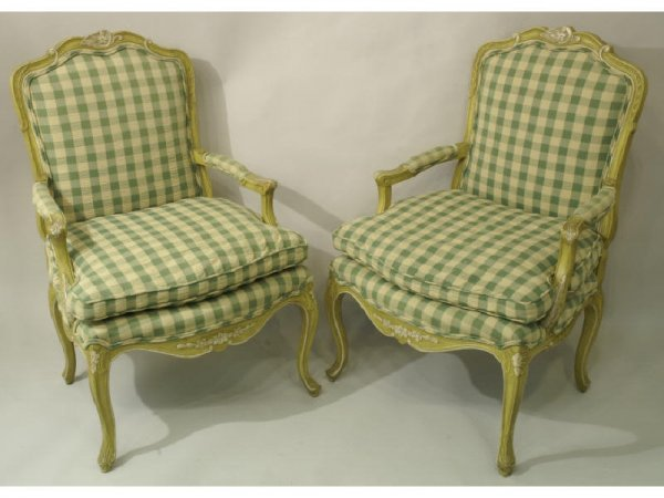 Pair of painted Louis XV style armchairs. Newly u