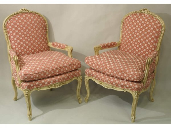 Pair of painted Louis XV style armchairs