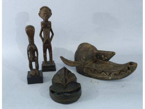 Pair of antique African statues and pair of antiqu
