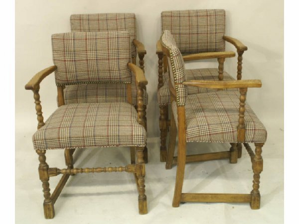 Set of 4 oak upholstered armchairs with turned leg