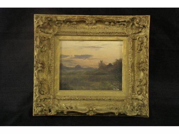 Oil on panel of landscape signed by Hamblen