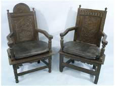 Pair of 17th C English carved oak hall chairs