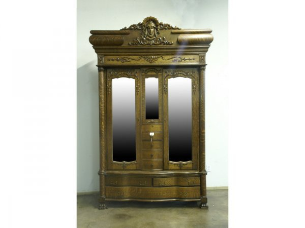 Golden oak armoire with mirrors