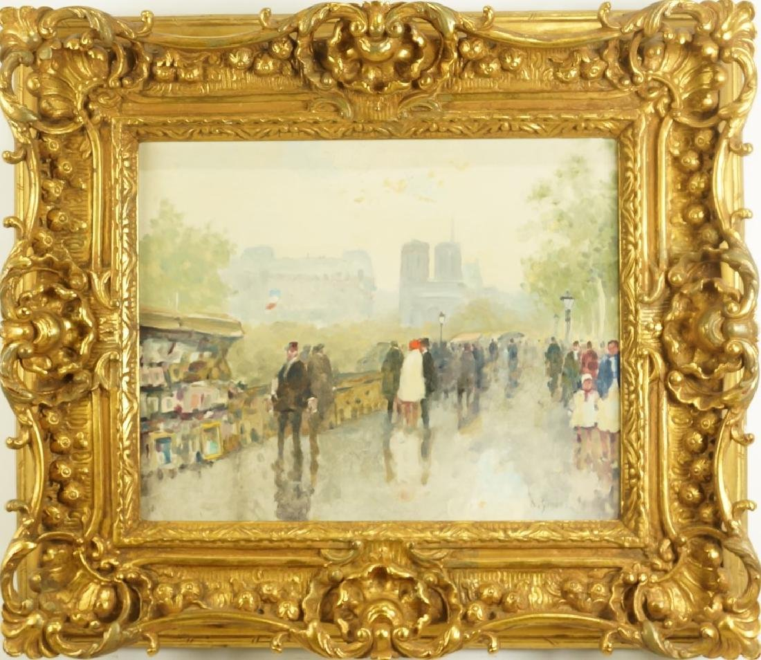 ANDRE GISSON PARISIAN STREET SCENE OIL ON CANVAS - 2