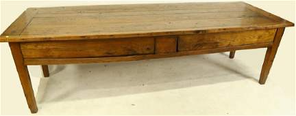 19th C COUNTRY FRENCH ELM WORK TABLE