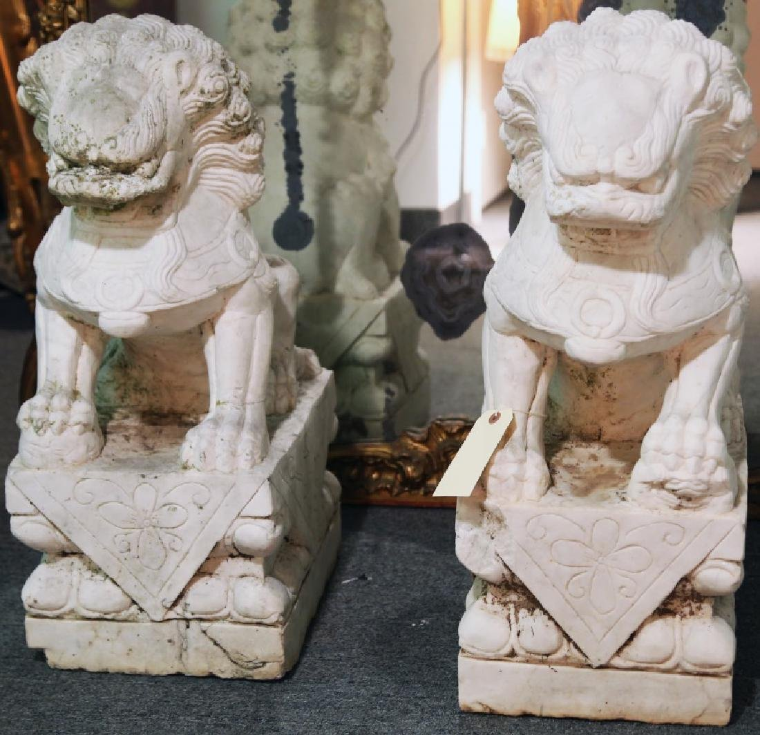PAIR OF VINTAGE CARVED MARBLE FOO DOGS