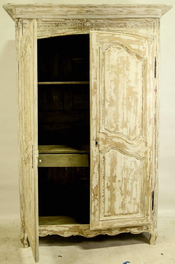 ANTIQUE DISTRESSED ARMOIRE WITH TWO DOORS