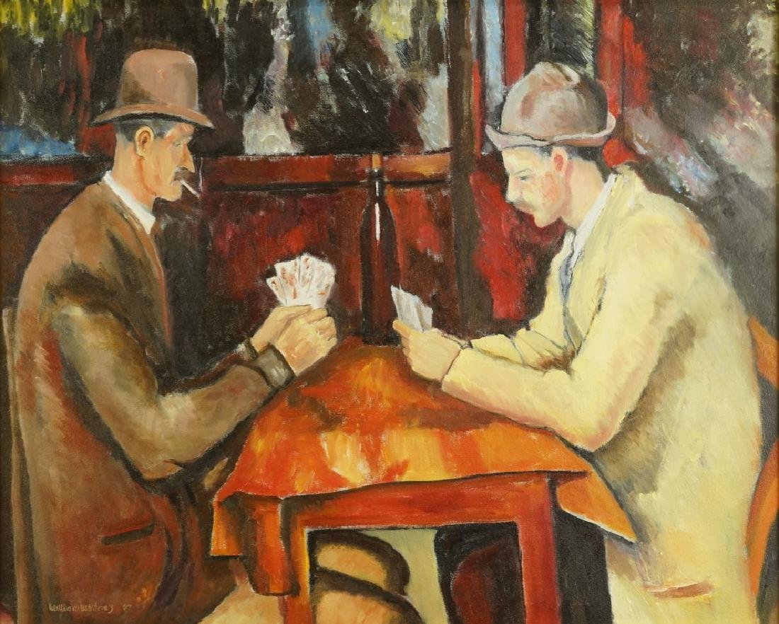 """WILLIAM WHITNEY """"TWO GENTLEMAN CARD PLAYERS"""" ACRYLIC"""