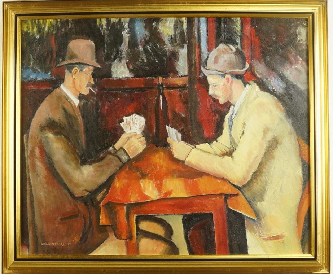 """WILLIAM WHITNEY """"TWO GENTLEMAN CARD PLAYERS"""" ACRYLIC - 2"""