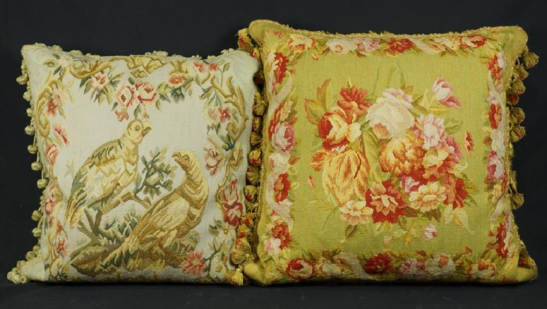 LOT OF TWO AUBUSSON PILLOWS WITH SILK TASSLE TRIM