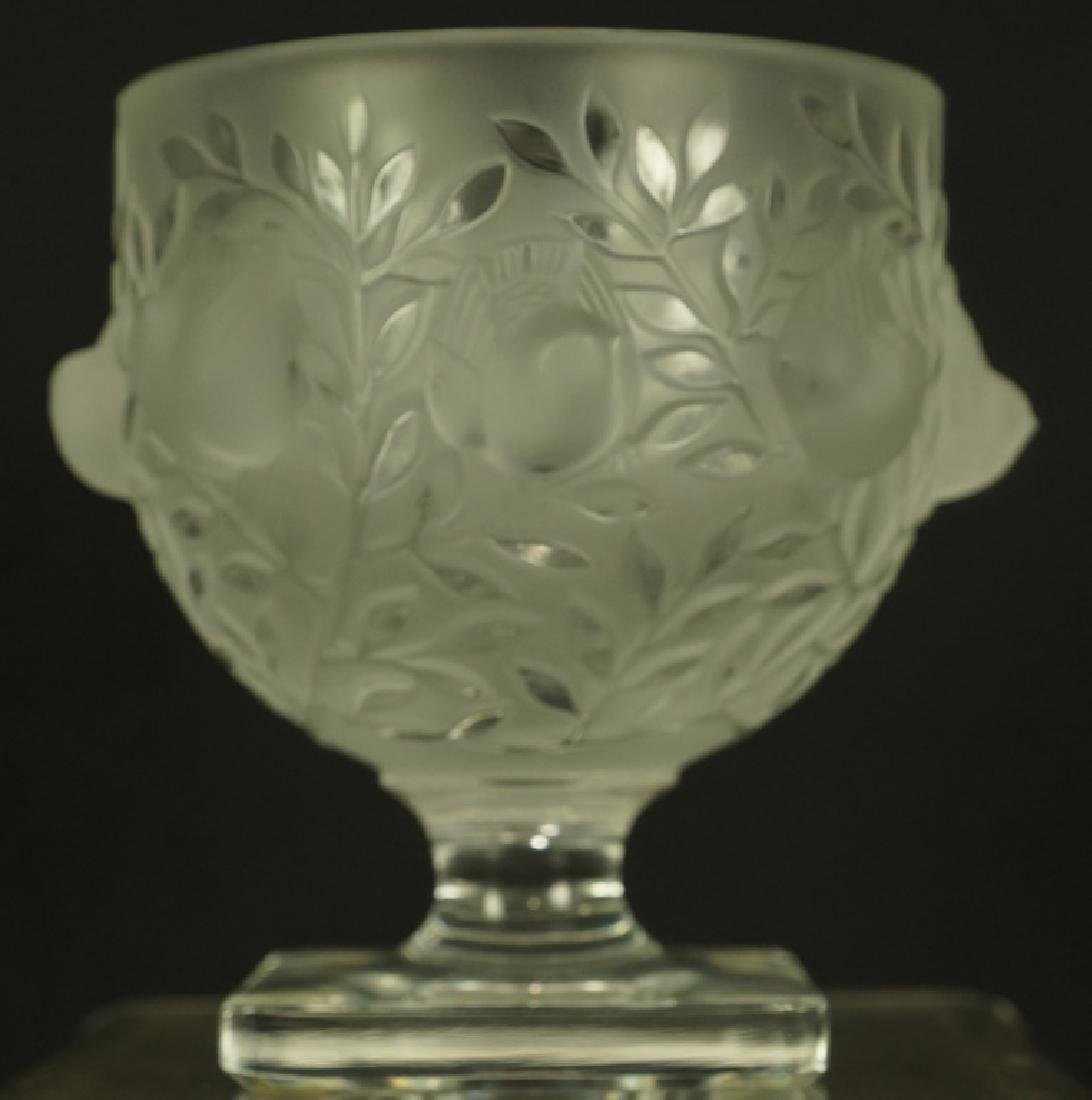 LALIQUE GOBLET & LOT OF TWO GLASS BIRDS