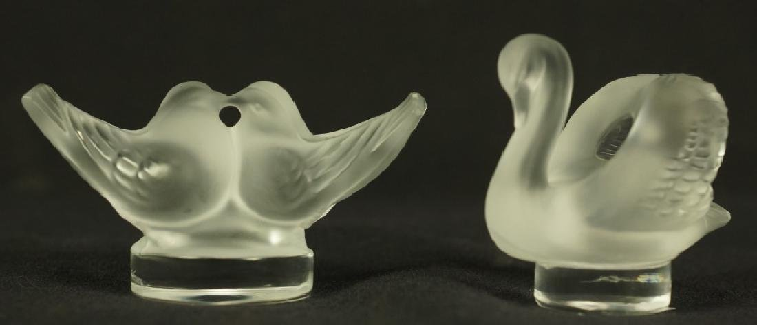 LALIQUE GOBLET & LOT OF TWO GLASS BIRDS - 4