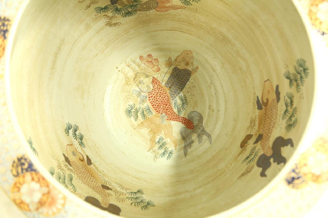 CHINESE IMARI FISH BOWL ON STAND - 4