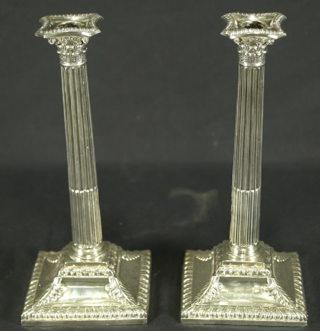 PAIR OF GEORGIAN SILVER PLATED CANDLESTICKS
