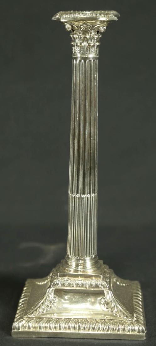 PAIR OF GEORGIAN SILVER PLATED CANDLESTICKS - 2