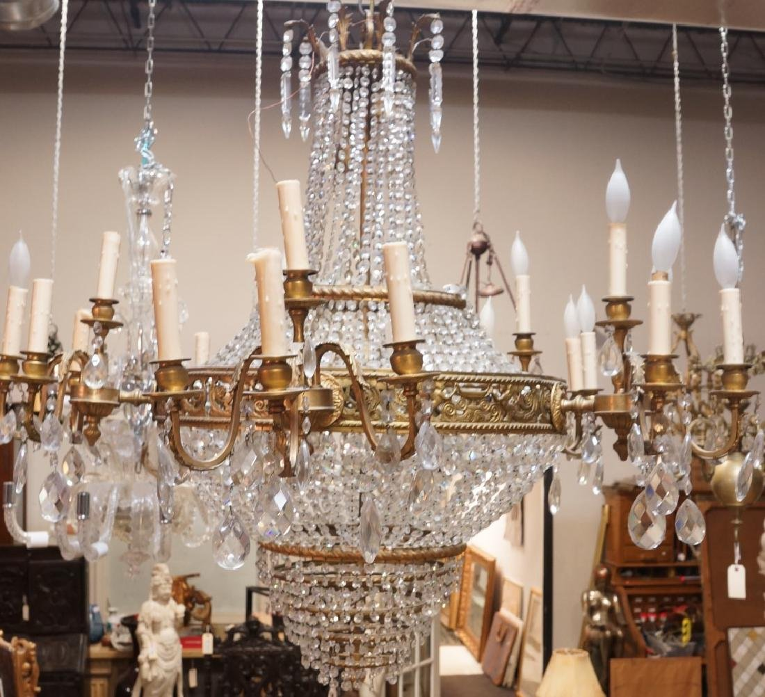 MONUMENTAL EMPIRE STYLE BRASS & CRYSTAL CHANDELIER