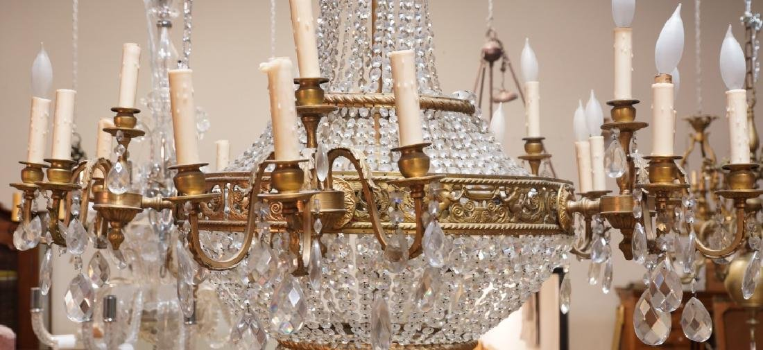 MONUMENTAL EMPIRE STYLE BRASS & CRYSTAL CHANDELIER - 2