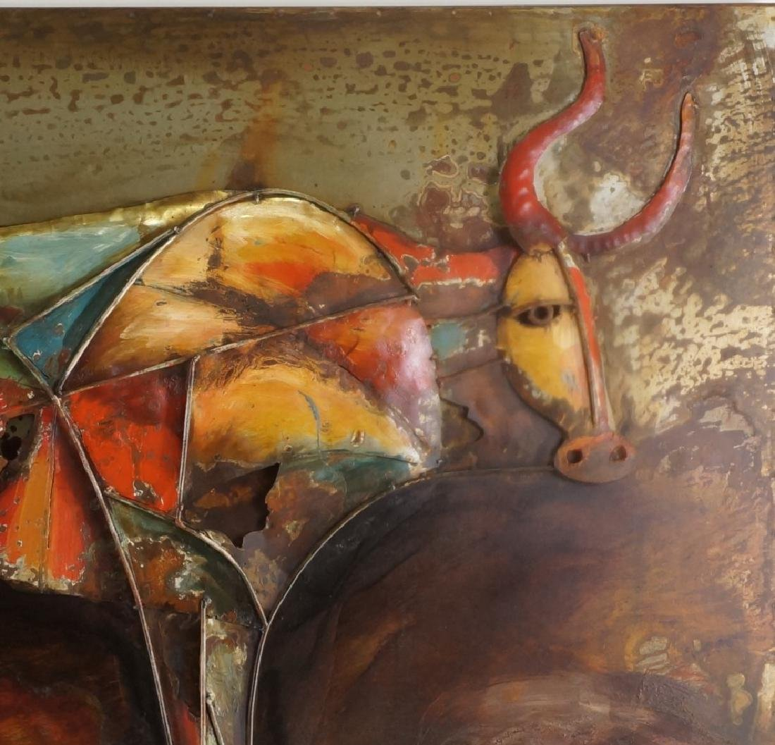 "PRIMO ""BULL"" MIXED MEDIA IRON WALL SCULPTURE - 2"