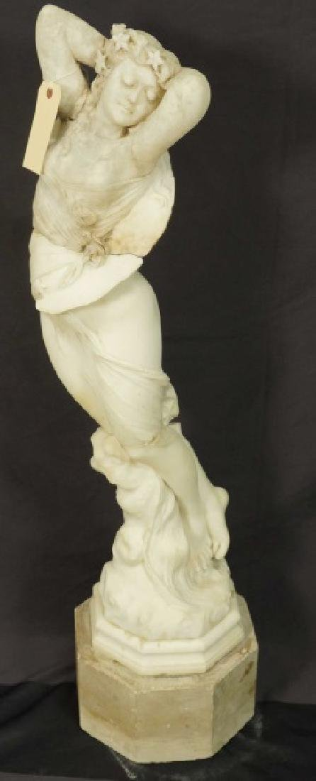 19th CENTURY CARVED MARBLE FEMALE STATUE