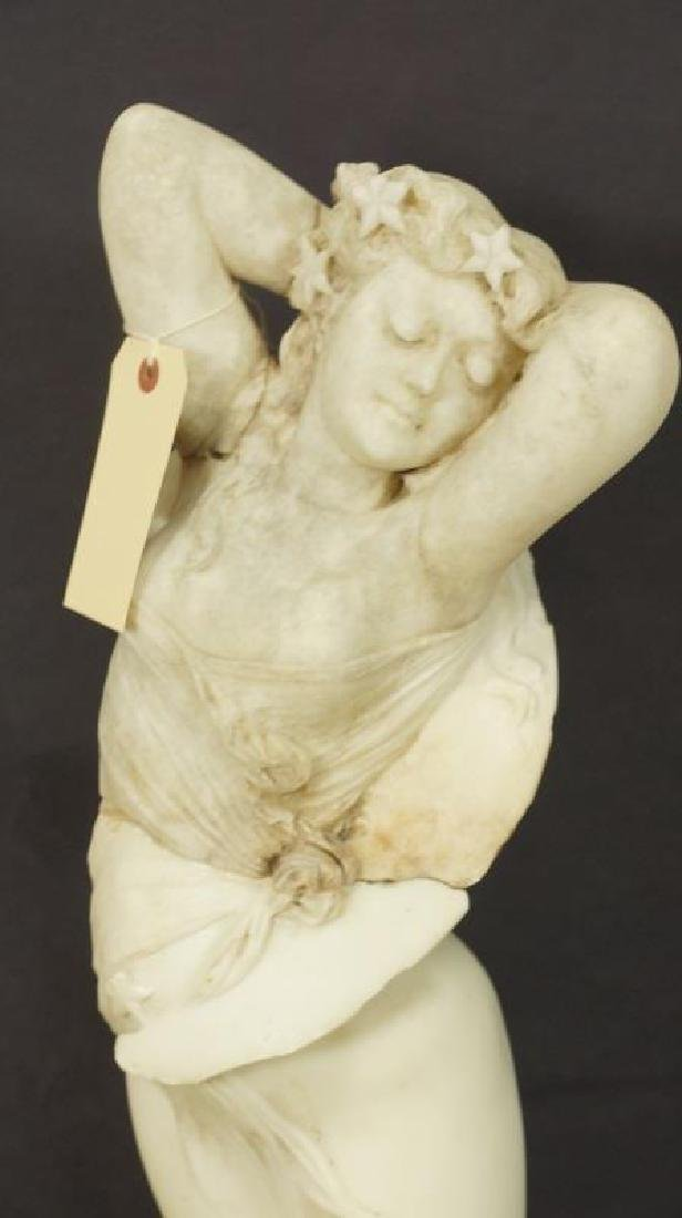 19th CENTURY CARVED MARBLE FEMALE STATUE - 2