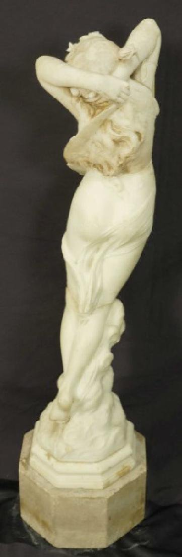 19th CENTURY CARVED MARBLE FEMALE STATUE - 3