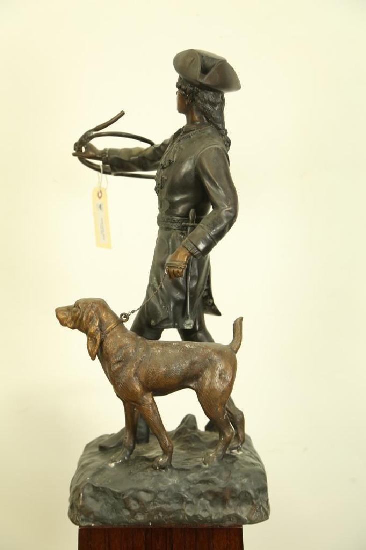 ANTIQUE BRONZE HUNTER AND DOG SCULPTURE - 3