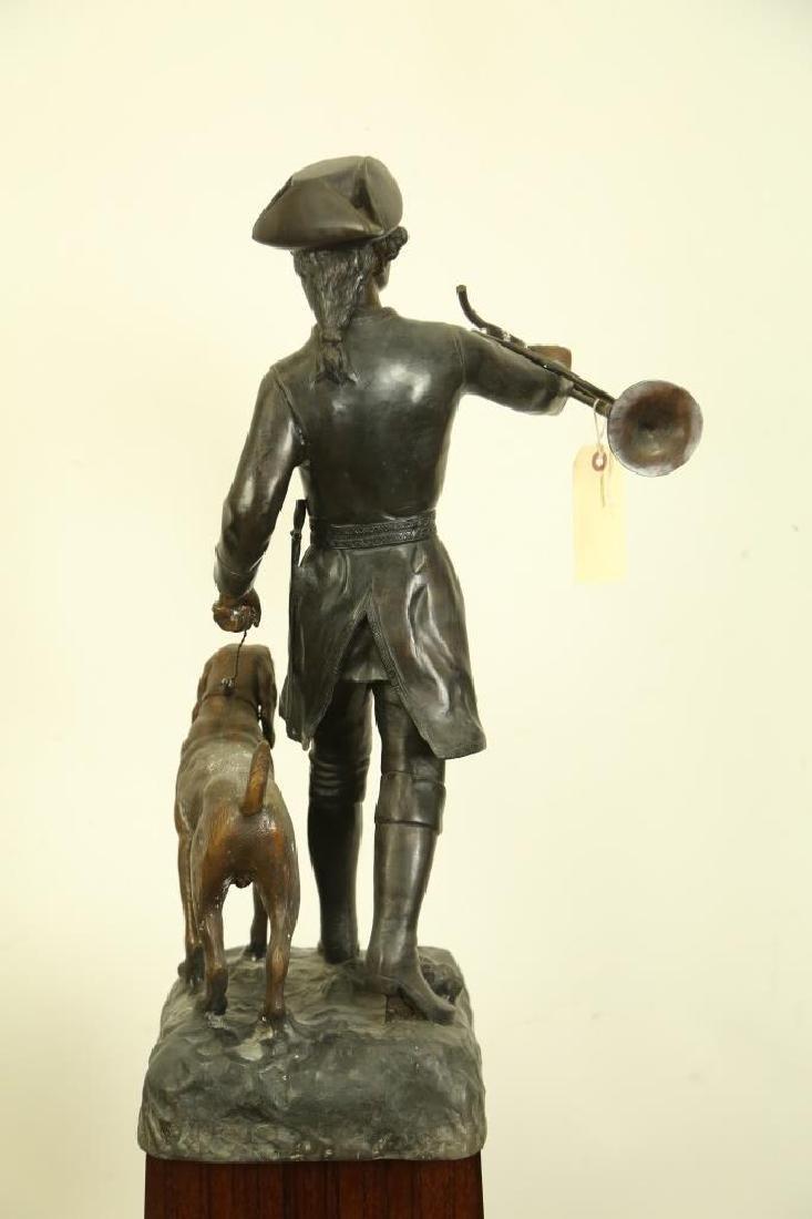 ANTIQUE BRONZE HUNTER AND DOG SCULPTURE - 4