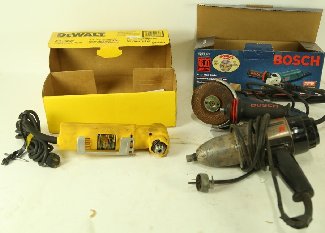 BOX LOT OF DRILL, RIGHT ANGLE DRILL & GRINDER